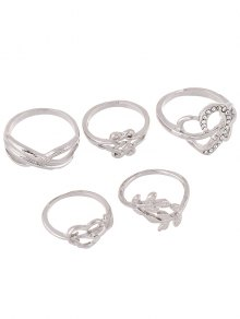 Rhinestone Infinite Heart Ring Set - Silver