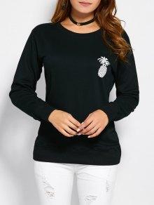 Sweatshirt A Encolure A Motif Contrasté  - Noir M