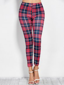 Tartan Check Ankle Leggings - Red With Black