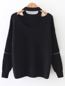 Zipped Sleeve Choker Jumper