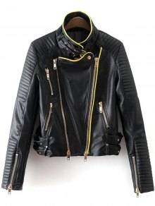 Zip And Buckle Design Faux Leather Jacket - Black S