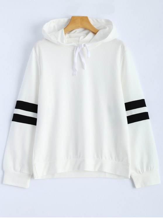 Chandail rayé à capuche et cordons - Blanc XL