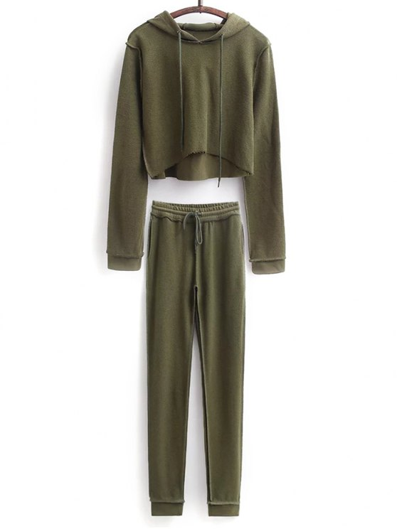 shop Cropped Hoodie and Drawstring Sports Pants - ARMY GREEN M