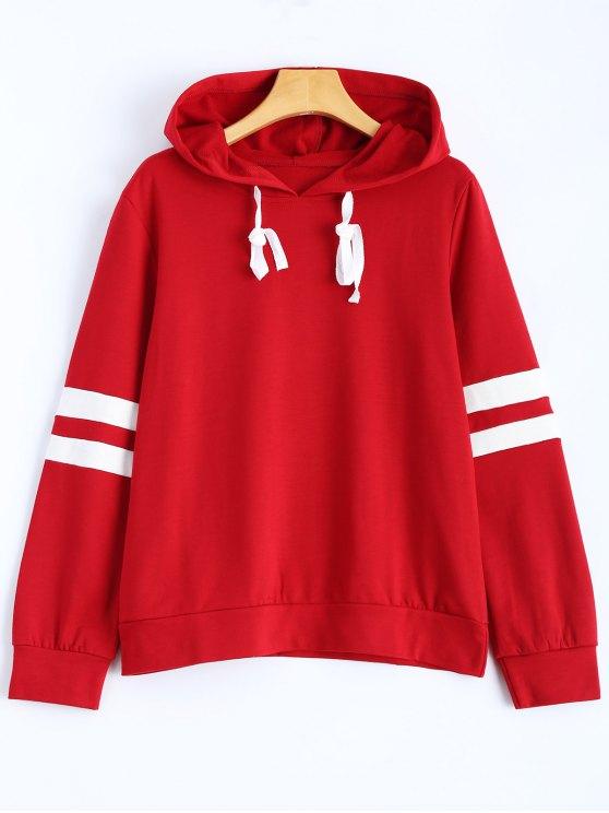 sale Stripes Pullover Hooded Sweatshirt - WINE RED M