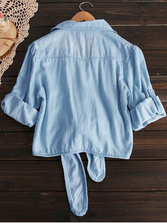 Tied Shirt Neck Denim Shirt - LIGHT BLUE M Mobile