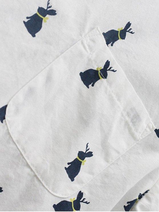 Animal Print Longline Tunic Shirt - WHITE L Mobile