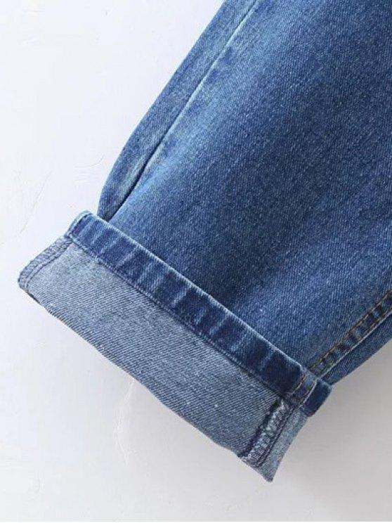 Floral Embroidered Tapered Jeans - DENIM BLUE L Mobile