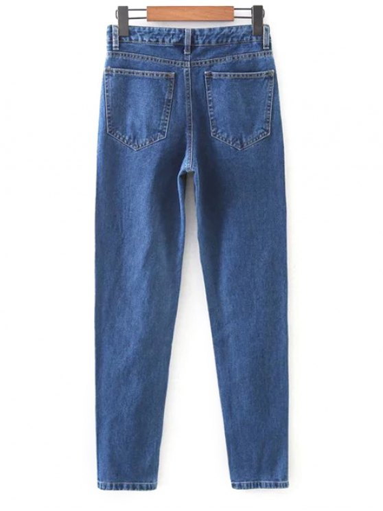 Floral Embroidered Tapered Jeans - DENIM BLUE M Mobile