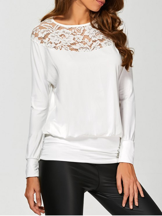 Sleeve Lace Yoke long T-shirt - Blanc XL