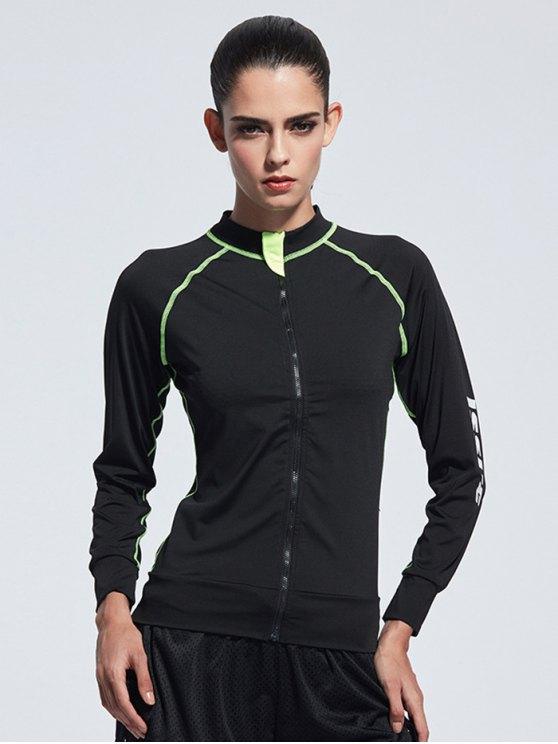 Bodycon Zipper Yoga Jacket - BLACK XL Mobile
