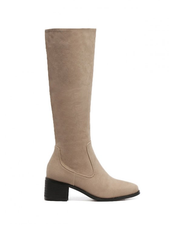 Zip Up Chunky Heel Knee High Boots - APRICOT 37 Mobile