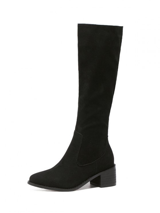 Zip Up Chunky Heel Knee High Boots - BLACK 39 Mobile