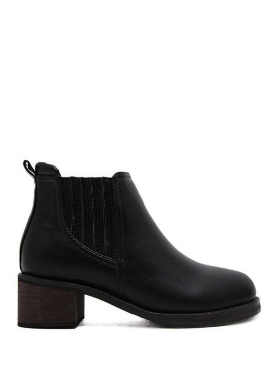 Faux Leather Chunky Heel Ankle Boots -   Mobile