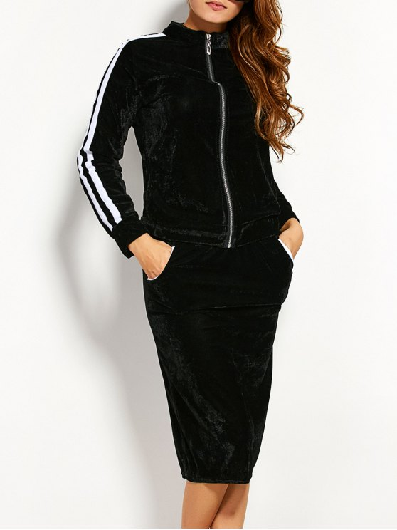 Pleuche chaqueta con falda lápiz - Negro XL