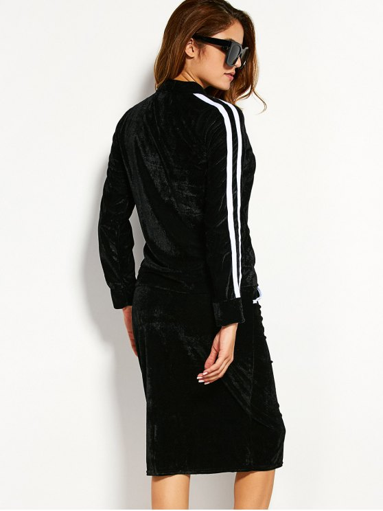 Pleuche Jacket With Pencil Skirt - BLACK XL Mobile