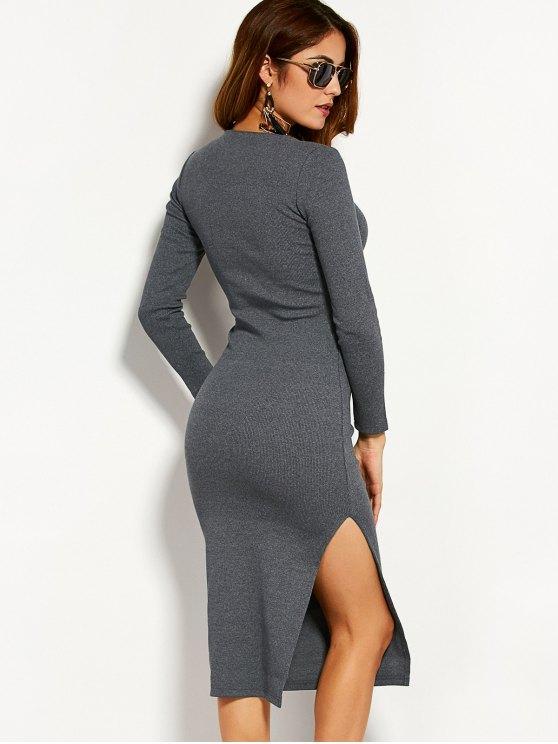 Long Sleeve Side Furcal Sweater Dress - GRAY M Mobile