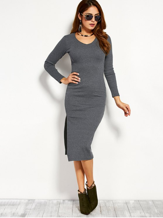 Long Sleeve Side Furcal Sweater Dress - GRAY L Mobile