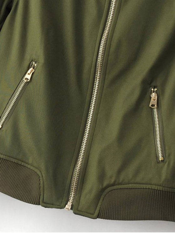 Pilot Jacket With Pockets - ARMY GREEN L Mobile