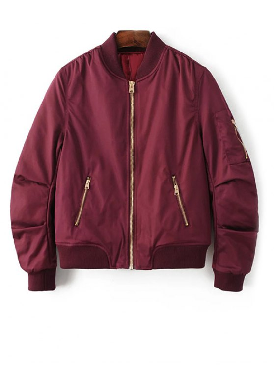 Pilot Jacket With Pockets - BURGUNDY L Mobile