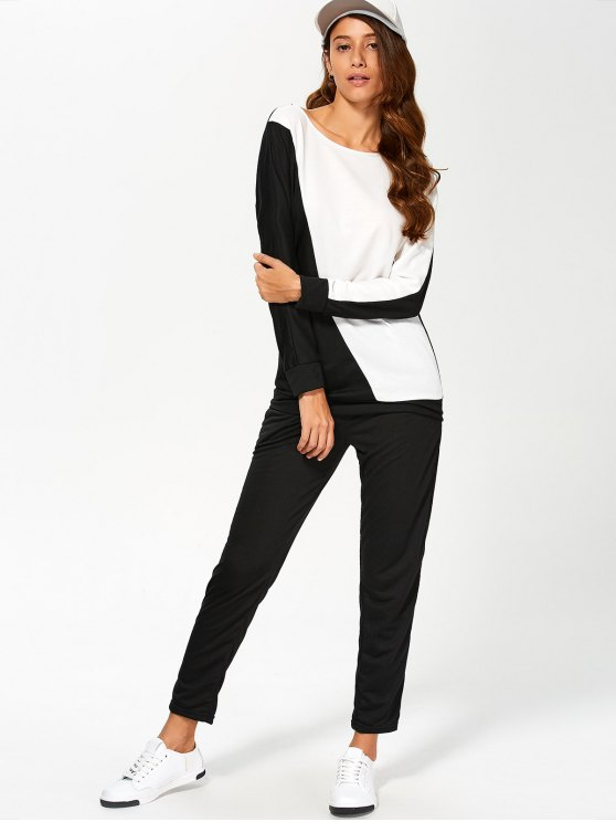Color Block Sweatshirt With Pants Gym Outfit - WHITE AND BLACK XL Mobile