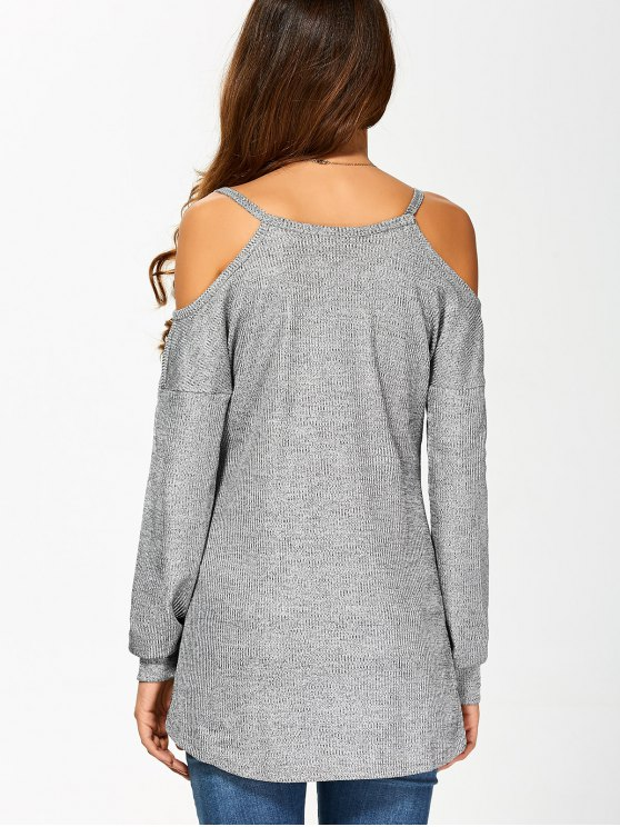 Cold Shoulder Long Sleeves T-Shirt for Women - GRAY M Mobile