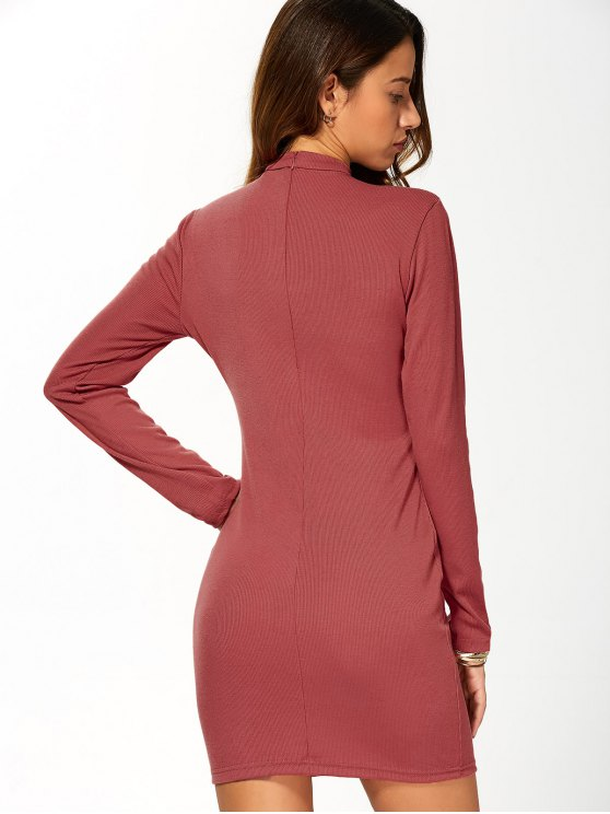 Long Sleeve Lace Up Choker Bodycon Dress - RED M Mobile