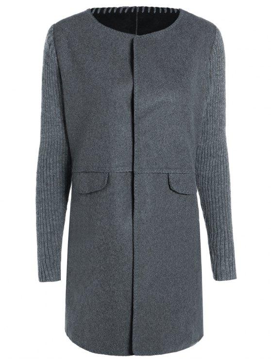 Tricoté Manteau manches Spliced col rond - Gris Foncé XL