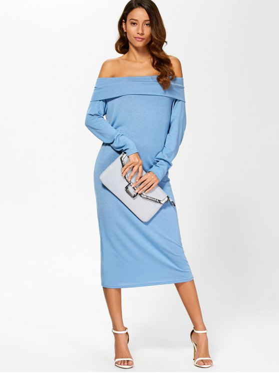 Foldover Off The Shoulder Midi Dress - BLUE L Mobile