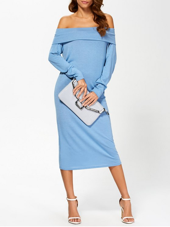 outfit Foldover Off The Shoulder Midi Dress - BLUE XL