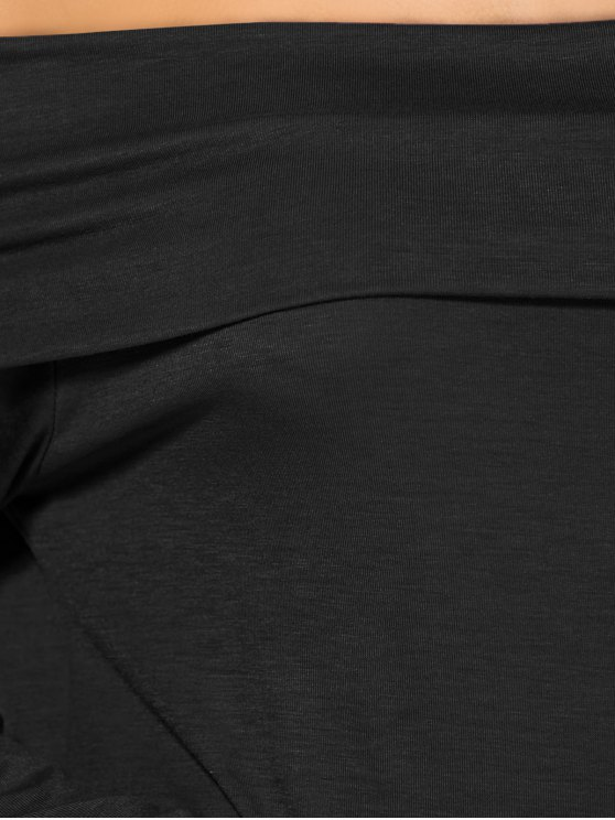 Foldover Off The Shoulder Midi Dress - BLACK M Mobile