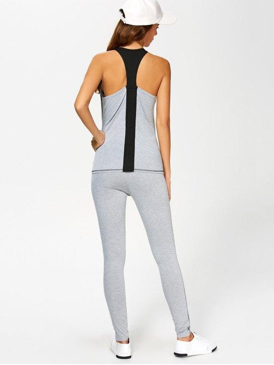 Color Block Tank Top and Sports Skinny Leggings - GRAY L Mobile