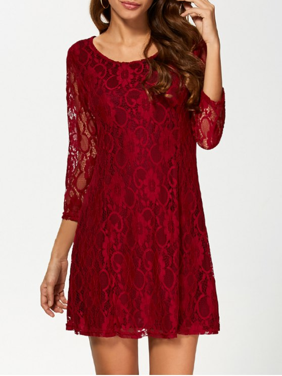 best Short Lace Dress With Sleeves - WINE RED L
