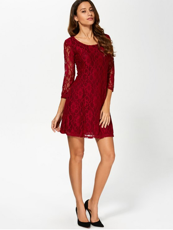 Short Lace Dress With Sleeves - WINE RED 2XL Mobile