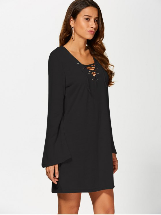 Flared Sleeve Lace Up Knit Dress - BLACK XL Mobile