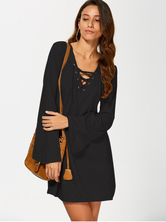 Flared Sleeve Lace Up Knit Dress - BLACK S Mobile