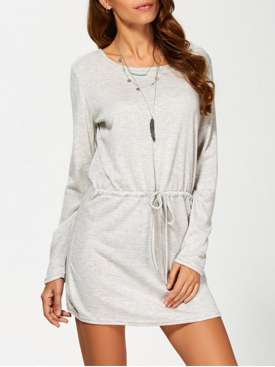 shop Open Back Drawstring Waist Sweater Dress - GRAY S