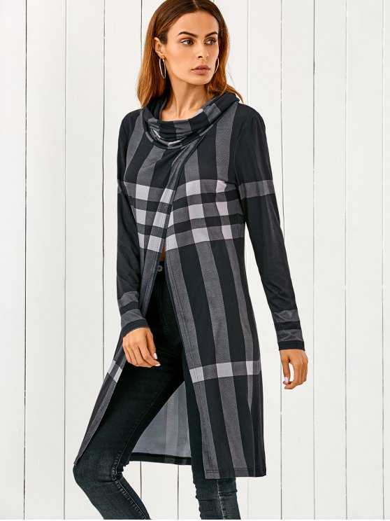 Front Slit Plaid Cowl Neck T-Shirt - CHECKED L Mobile