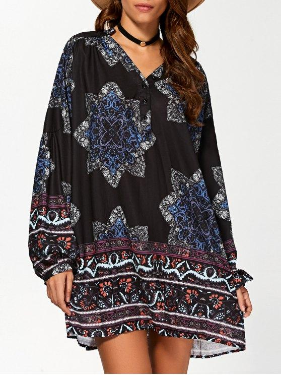 new Floral Print V Neck Loose-Fitting Dress - CADETBLUE S