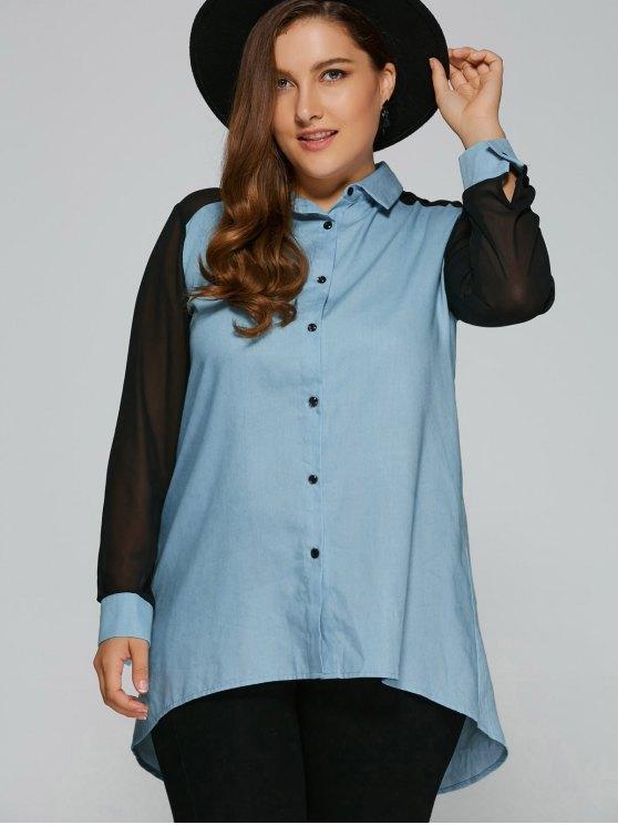 Chiffon Sleeve Denim Plus Size Shirt - DENIM BLUE 2XL Mobile