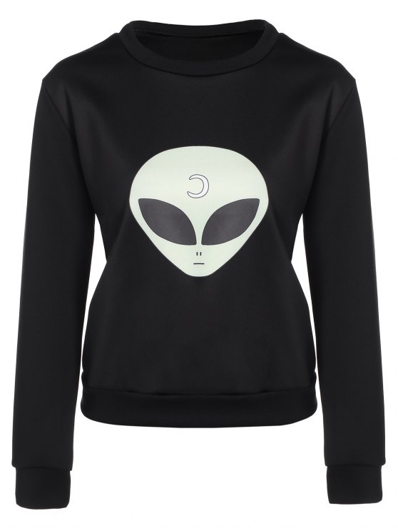 Casual Skull Sweatshirt - BLACK L Mobile