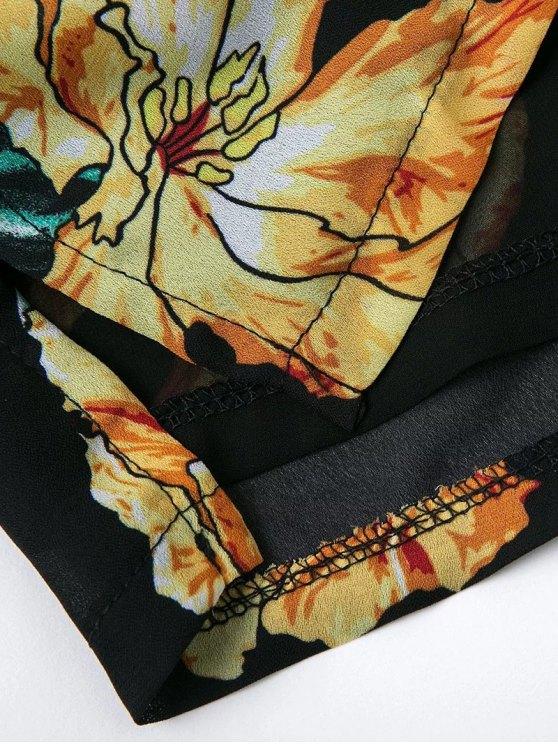 Floral Print Off  Shoulder Romper - BLACK M Mobile