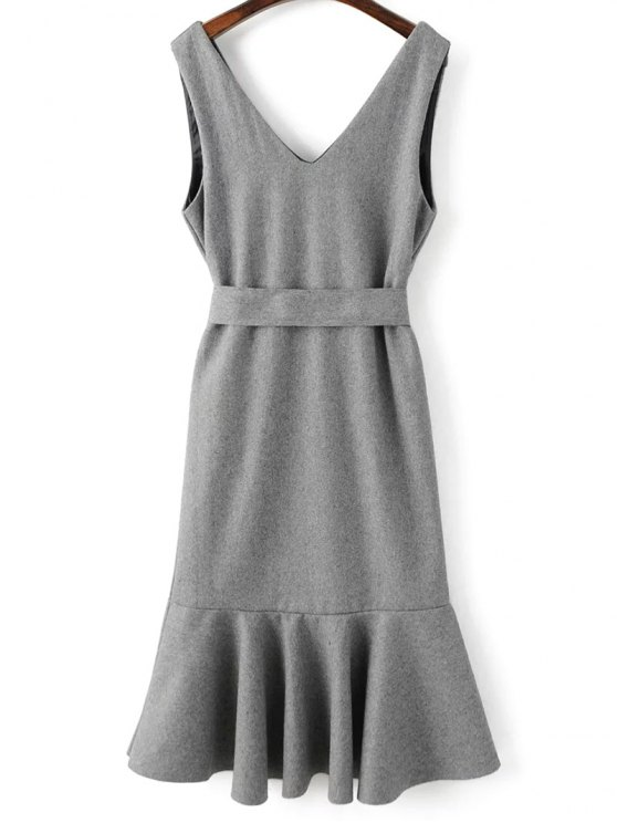 Sleeveless Peplum Hem Wool Blend Dress - GRAY L Mobile