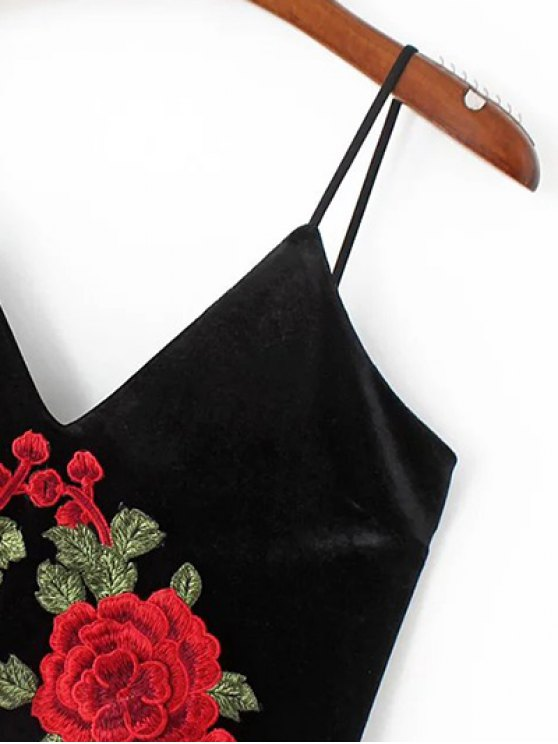 Embroidered Velvet Cami Vintage Dresses - BLACK S Mobile