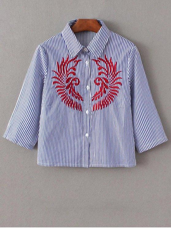 Chemise à manches mi-longues à rayures avec broderie - Bleu et Blanc L