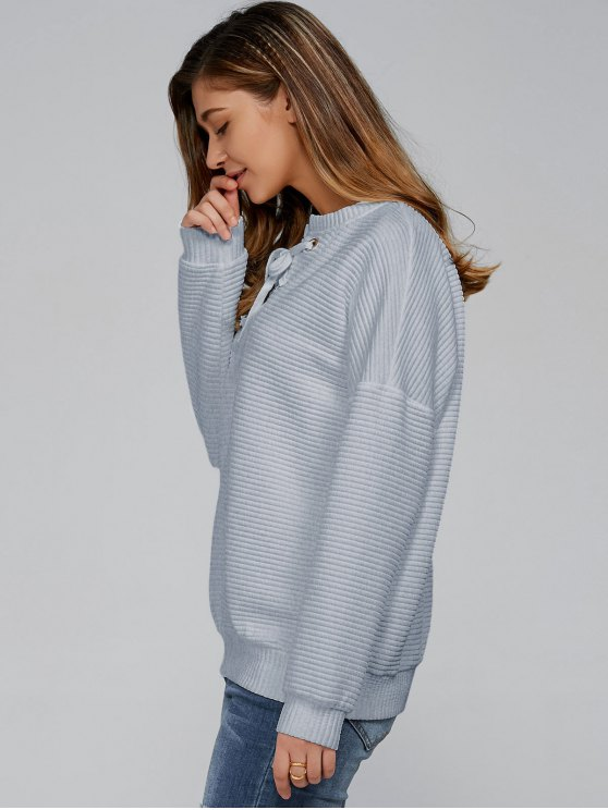 Ribbed Lace Up Sweatshirt - SMOKY GRAY L Mobile