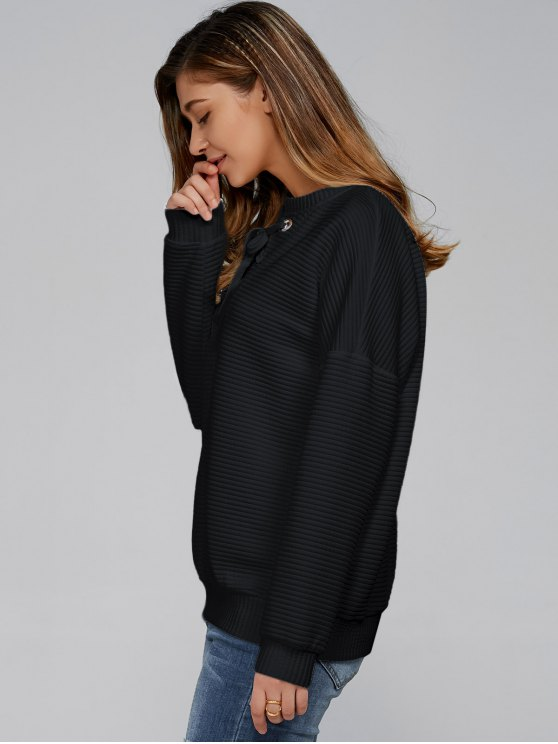 Ribbed Lace Up Sweatshirt - BLACK XL Mobile
