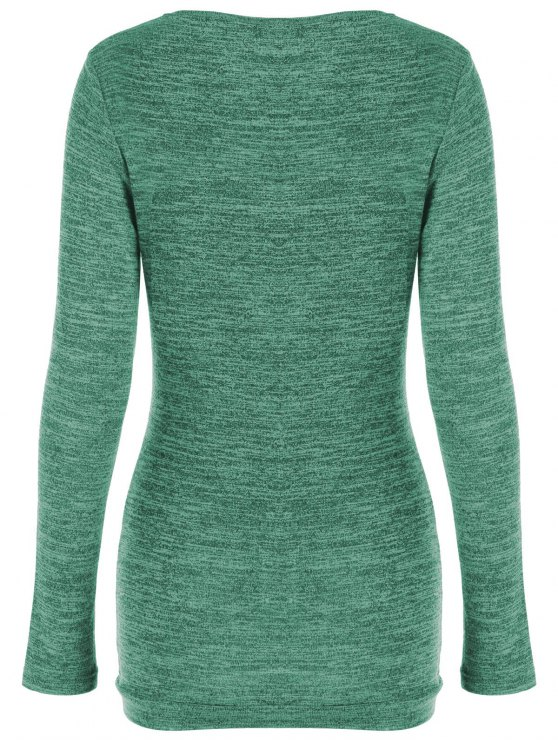 Plus Size Ruched Button Embellished Pullover Top - GREEN 3XL Mobile