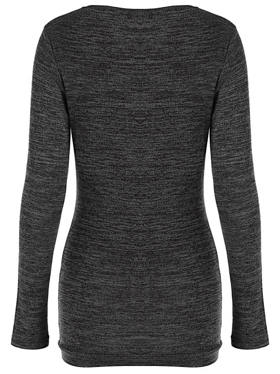 Plus Size Ruched Button Embellished Pullover Top - BLACK GREY 4XL Mobile