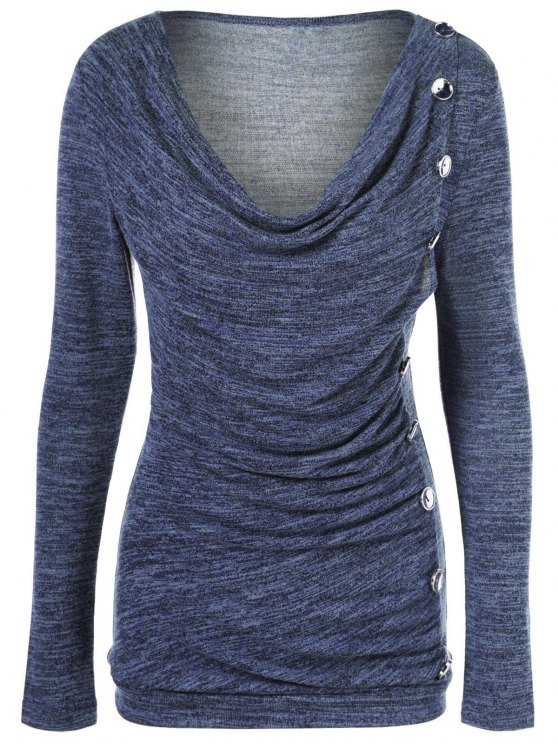 Plus Size Ruched Button Embellished Pullover Top - MEDIUM BLUE 4XL Mobile
