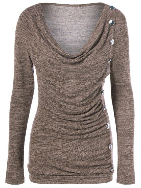 Plus Size Ruched Button Embellished Pullover Top - LIGHT COFFEE 3XL Mobile